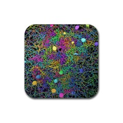 Starbursts Biploar Spring Colors Nature Rubber Square Coaster (4 Pack)  by BangZart