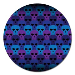 Skull Pattern Wallpaper Magnet 5  (round) by BangZart