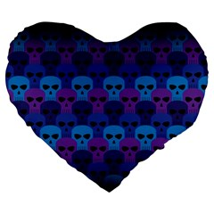 Skull Pattern Wallpaper Large 19  Premium Flano Heart Shape Cushions