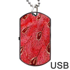 Red Peacock Floral Embroidered Long Qipao Traditional Chinese Cheongsam Mandarin Dog Tag Usb Flash (one Side) by BangZart