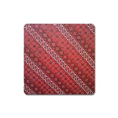 Red Batik Background Vector Square Magnet by BangZart