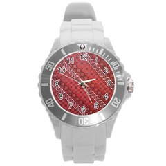 Red Batik Background Vector Round Plastic Sport Watch (l) by BangZart