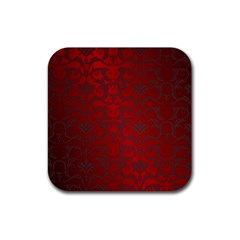 Red Dark Vintage Pattern Rubber Square Coaster (4 Pack)  by BangZart