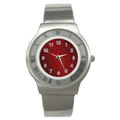 Red Dark Vintage Pattern Stainless Steel Watch by BangZart