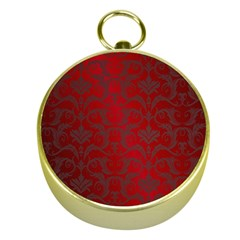 Red Dark Vintage Pattern Gold Compasses by BangZart