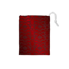 Red Dark Vintage Pattern Drawstring Pouches (small)  by BangZart