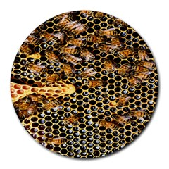 Queen Cup Honeycomb Honey Bee Round Mousepads by BangZart