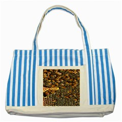 Queen Cup Honeycomb Honey Bee Striped Blue Tote Bag