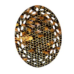 Queen Cup Honeycomb Honey Bee Ornament (oval Filigree)