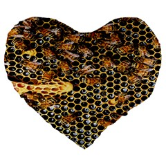 Queen Cup Honeycomb Honey Bee Large 19  Premium Flano Heart Shape Cushions