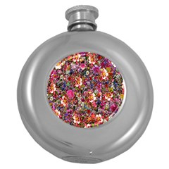 Psychedelic Flower Round Hip Flask (5 Oz) by BangZart