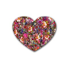 Psychedelic Flower Rubber Coaster (heart)  by BangZart