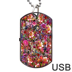 Psychedelic Flower Dog Tag Usb Flash (one Side)