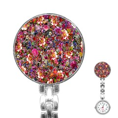 Psychedelic Flower Stainless Steel Nurses Watch