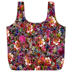Psychedelic Flower Full Print Recycle Bags (l)  by BangZart