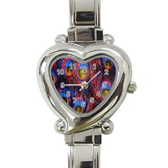 Pretty Peacock Feather Heart Italian Charm Watch by BangZart