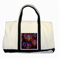 Pretty Peacock Feather Two Tone Tote Bag by BangZart