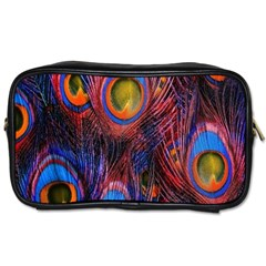 Pretty Peacock Feather Toiletries Bags 2 Side