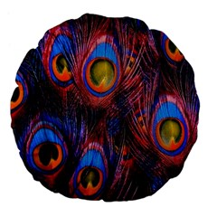Pretty Peacock Feather Large 18  Premium Flano Round Cushions by BangZart