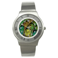 Psytrance Abstract Colored Pattern Feather Stainless Steel Watch by BangZart