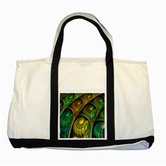 Psytrance Abstract Colored Pattern Feather Two Tone Tote Bag by BangZart
