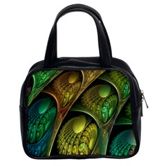 Psytrance Abstract Colored Pattern Feather Classic Handbags (2 Sides) by BangZart