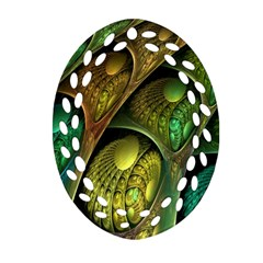 Psytrance Abstract Colored Pattern Feather Oval Filigree Ornament (two Sides) by BangZart
