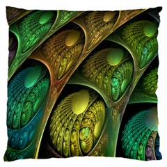 Psytrance Abstract Colored Pattern Feather Large Flano Cushion Case (one Side) by BangZart