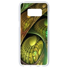 Psytrance Abstract Colored Pattern Feather Samsung Galaxy S8 White Seamless Case by BangZart