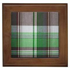 Plaid Fabric Texture Brown And Green Framed Tiles by BangZart