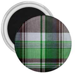 Plaid Fabric Texture Brown And Green 3  Magnets