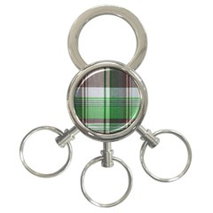 Plaid Fabric Texture Brown And Green 3 Ring Key Chains