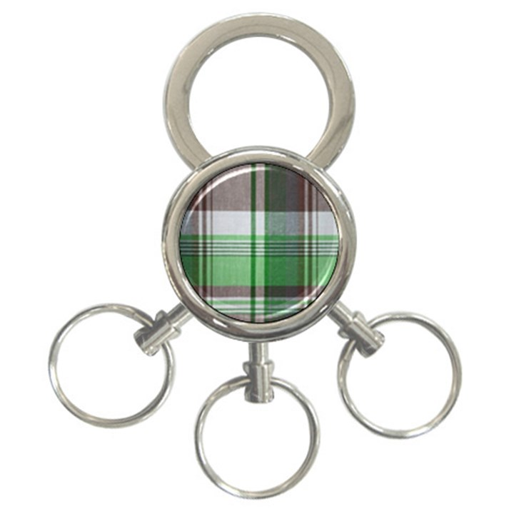 Plaid Fabric Texture Brown And Green 3-Ring Key Chains
