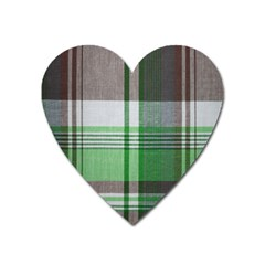Plaid Fabric Texture Brown And Green Heart Magnet