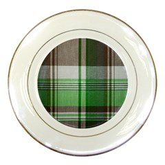 Plaid Fabric Texture Brown And Green Porcelain Plates