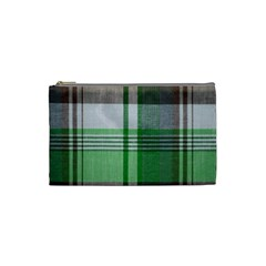 Plaid Fabric Texture Brown And Green Cosmetic Bag (small)  by BangZart