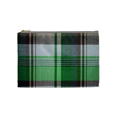 Plaid Fabric Texture Brown And Green Cosmetic Bag (medium)  by BangZart