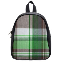Plaid Fabric Texture Brown And Green School Bags (small)  by BangZart