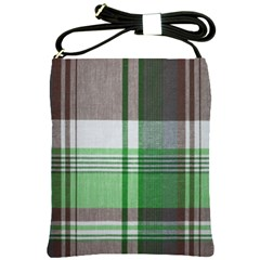 Plaid Fabric Texture Brown And Green Shoulder Sling Bags