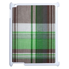 Plaid Fabric Texture Brown And Green Apple Ipad 2 Case (white) by BangZart