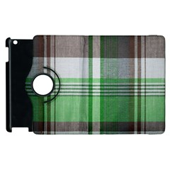 Plaid Fabric Texture Brown And Green Apple Ipad 3/4 Flip 360 Case