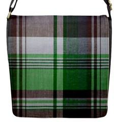 Plaid Fabric Texture Brown And Green Flap Messenger Bag (s) by BangZart
