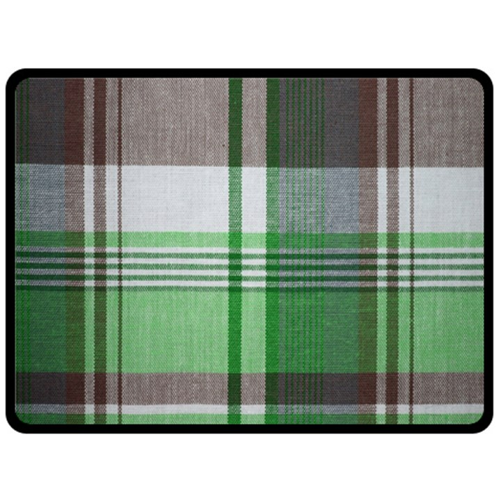 Plaid Fabric Texture Brown And Green Double Sided Fleece Blanket (Large)