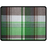 Plaid Fabric Texture Brown And Green Double Sided Fleece Blanket (Large)  80 x60 Blanket Back