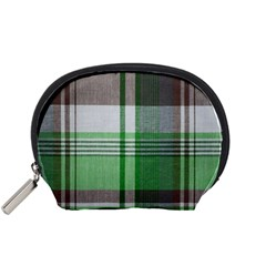 Plaid Fabric Texture Brown And Green Accessory Pouches (small)  by BangZart