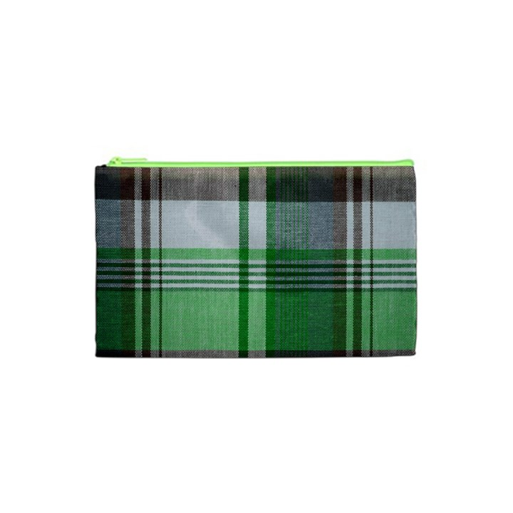 Plaid Fabric Texture Brown And Green Cosmetic Bag (XS)