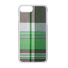 Plaid Fabric Texture Brown And Green Apple Iphone 7 Plus White Seamless Case