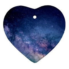 Galaxy Nebula Astro Stars Space Ornament (heart) by paulaoliveiradesign