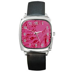 Pink Circuit Pattern Square Metal Watch by BangZart