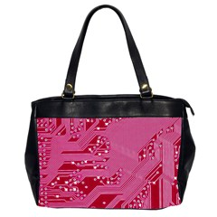 Pink Circuit Pattern Office Handbags (2 Sides)  by BangZart